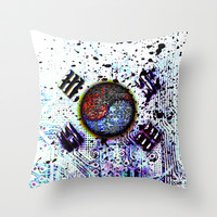 in to the sky, circuit board (south korea) Throw Pillow by seb mcnulty