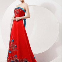 Chinese Style Wedding Gown Phoenix Bridal Sequined Prom Dress