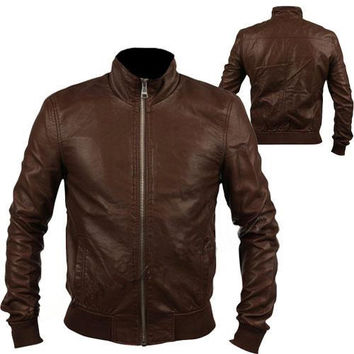 Handmade Men brown leather jacket with front ziper and inside pockets, men biker leather jacket