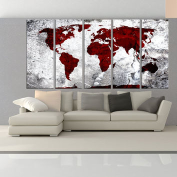 Large abstract wall art, world Map wall art Canvas Print, extra large wall art canvas print, original canvas red and grey wall decals 7S35