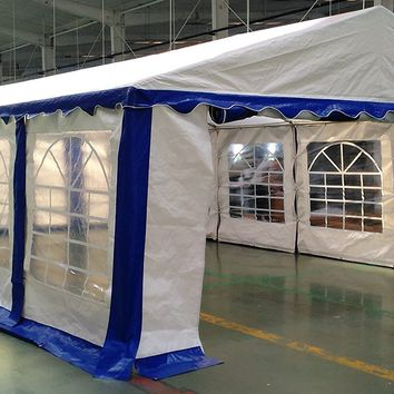 American Phoenix Canopy Tent 15x30 foot Large White Party Tent Gazebo Canopy Commercial Fair Shelter Car Shelter Wedding Events Party Heavy Duty Tent- White With Blue