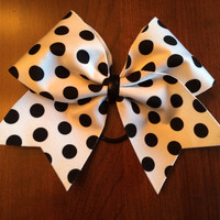 Cheer Bow - White with Black Polka Dots