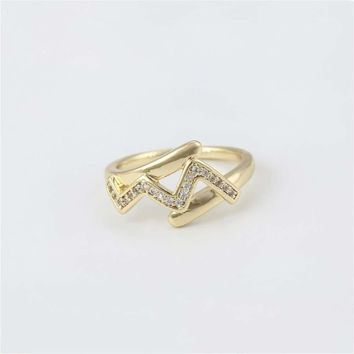 Chevron cz Ring 18kts of Gold Plated