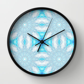 Turquoise & Aqua Frozen Sunburst Flowers Wall Clock by 2sweet4words Designs | Society6