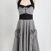 Rockabilly Long Halter A-line Salty and Pepper Dress