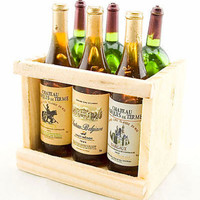 Box Set 6 Champagne Bottle Wine New Dollhouse Miniature