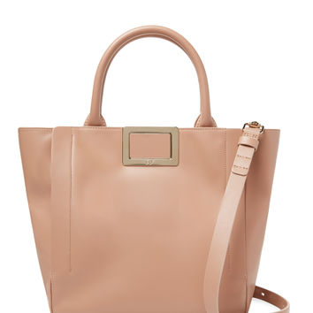 Roger Vivier Women's Ines Small Leather Shopping Tote - Cream/Tan