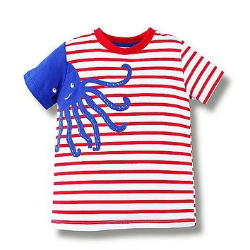 Octopus Red Striped Tee