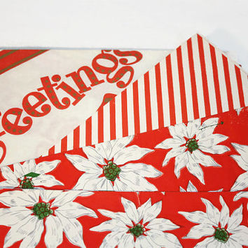 Vintage Christmas Wrapping Paper Lot, Red White Holiday Gift Wrap