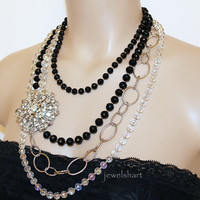 Statement Necklace, Big Bold Multi Strand Black Clear Crystal Rhinestone Brooch, Fashion Jewellery