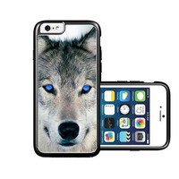 RCGrafix Brand Blue Eyed Wolf Face Wolves iPhone 6 Case - Fits NEW Apple iPhone 6