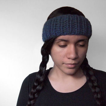 custom color handknit earwarmer - the ceph headband in denim blue