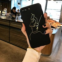 SZYHOME Phone Cases for IPhone 6 6s 7 Plus Case Golden Lines Funny Graffiti TPU Silicon for IPhone X Phone Cover Case Capa Coque