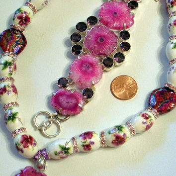 Pink Splendor Druzy Necklace Bracelet Set - Genuine Amethysts - Silver SALE