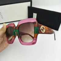 GPON8C New Authentic Gucci Sunglasses GG178S Women's Pink Oversized Square