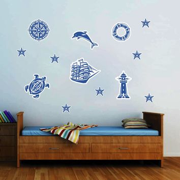 cik158 Full Color Wall decal lighthouse ship compass sea turtle dolphin kids room