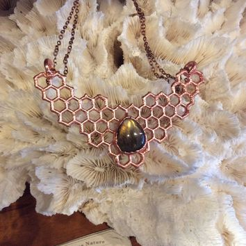 Honeycomb and Labradorite Statement Bib Collar