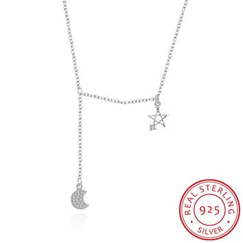 925 sterling silver pendant exquisite necklace women's retro sun and moon eternity stone crystal necklace female holiday gifts