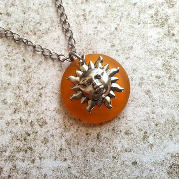 Sun Face Necklace, Beach Necklace, Sun Necklace, Eco Friendly Jewelry, Antique Silver Necklace, Recycled Glass Jewelry, Yellow Necklace