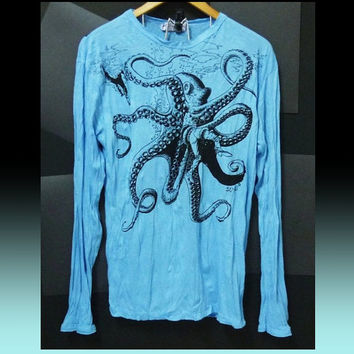 Octopus long sleeve shirt Light blue color sea animal tshirt cute t shirt/ crew neck/ drawings art/ wrinkle shirt size M/L one size