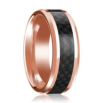 14K Rose Gold Wedding Band with Black Carbon Fiber Inlay Beveled Edge Polished Mens Ring