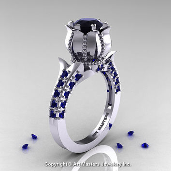 Classic 14K White Gold 1.0 Ct Black Diamond Blue Sapphire Solitaire Wedding Ring R410-14KWGBSBD