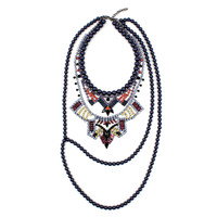 Rebel Romance Long Statement Crystal Necklace w/ Pearls - Multicolored / Blue Pearls
