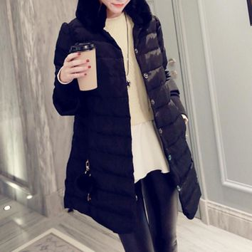 Rabbit fur collar down jacket in the long section of thicker coat temperament Black