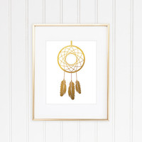 Dreamcatcher Print, Gold Dreamcatcher, Faux Gold Foil, Gold Foil Print, Gold Leaf Art, Minimalist Art, Tribal Art, Office Decor, Home Decor