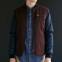 Native Youth Colorblocked Flannel Bomber Jacket- Maroon