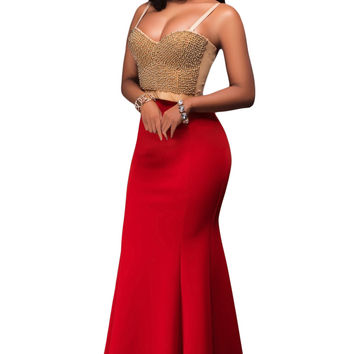 Red Mermaid Luxe Maxi Skirt