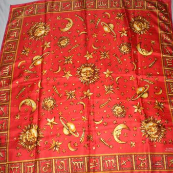 Vintage Gianni Versace Silk Scarf Red Zodiac Astrological Signs Symbols Stars