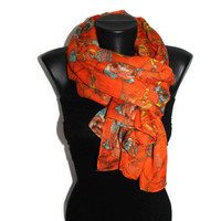 Roses & Chain Scarf - Orange Floral Scarf - Fashion Scarf - Unique Shawl - Pareo - Trendy Fabric Scarf - Spring Trends - Gift Idea