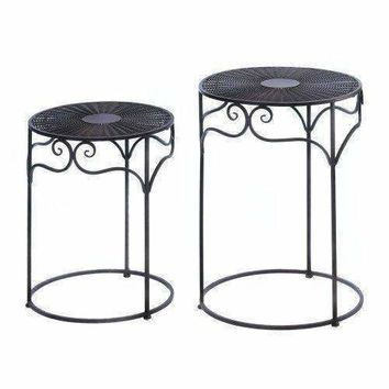 Umber Wicker Round Nesting Tables (pack of 1 SET)