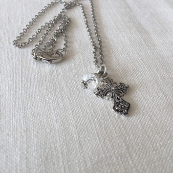 Cross Necklace - Silver Cross Necklace - Christening Gift - Baptism Gift - Religious Jewelry - Religious Necklace - Gift Idea