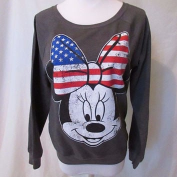 Minnie Mouse Top Shirt Women's Gray Medium Long Sleeve Distressed Patriotic
