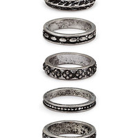 Antiqued Etched Ring Set