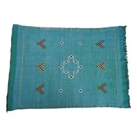 """Pre-owned Moroccan Cactus Silk Rug in Blue - 3' x 4' 7"""""""