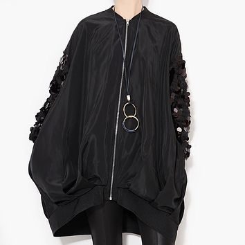 [TWOTWINSTYLE] 2017 Autumn Sequins Long Sleeve Trench Coat for Women Windbreaker New Clothing Black White