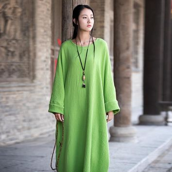 Plus big size Batwing Cotton Women Long Dress Oversized Zen style Solid Robe Femme Gown Dresses Loose Casual Maxi Dress B006