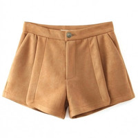 Zipper Fly Plain Mid Waist Suede Loose Shorts