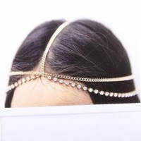 WIIPU Hair Accessory Head Chain Rhinestones Crystal Head Chain Hair Band