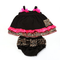 Baby Kids Girls Ruffled Bloomers Nappy Cover Top Dress+Pants Leopard Black S M L