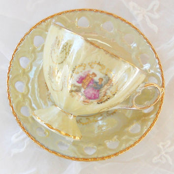 Vintage Pearl Iridescent Footed Lusterware Tea Cup and Saucer Set, Romantic Cottage Chic, Wedding, Collectible Tea Cup Set