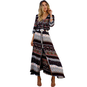 Sexy Print Long Women Dress Elegant Maxi Vintage 2017 Fashion Beach Robe Bohemian Vestidos Casual Clothes Summer Style Dress