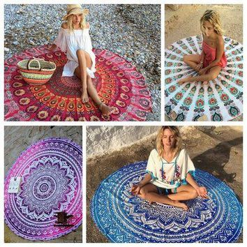 Mandala Indian Tapestry Yoga Hippie Design Polyester Fabric Round Beach Tapestry Cushion Covers Picnic Throw Mat Blanket