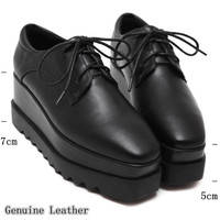 Genuine Leather Oxford shoes for women platform Wedges flats 2016 Lace Up women flat shoes