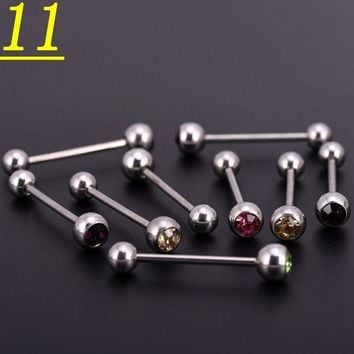 ac ICIKO2Q 100pcslot Mix Colors Crystal Stainless Steel Ball Horseshoes Barbell Eyebrow Nose Navel Belly Tongue Rings Body Piercing Jewelry