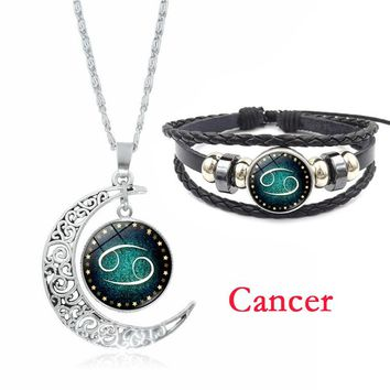 12 Constellation Women Jewelry Set Zodiac Glass Pendant Silver Crescent Moon