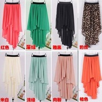 9 COLORS Sexy Asym Hem Chiffon Skirt Ladies Long Maxi Dress Elastic Waist